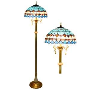 Antique pura in piedi in rame vetro colorato lampade Nordic Hotel lampada blu piano tiffany soggiorno giada lampada da terra TF078