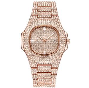 reloj mujer TOP 브랜드 전체 다이아몬드는 여성의 남성을보고 간단한 디지털 여성 럭셔리 디자이너 여성 남성 시계 팔찌 로즈 골드 시계를 드레스