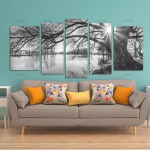 BANMU 5 Pièces moderne toile Peinture murale d'art Arbre Sunrise Temps Lac Paysage Impression sur toile Giclee Création Pour décorations Y200102