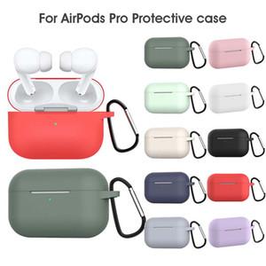 Etui en silicone pour AirPod Pro cas de protecteur anti-perte de cas Oreillettes avec crochet pour AirPod 3 écouteurs avec boîte