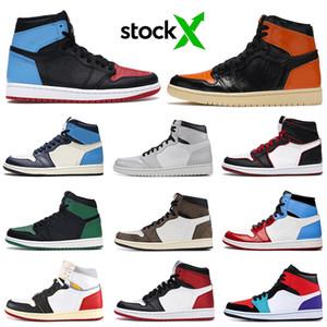 nike air jordan retro 1 aj1 1s destemidos 1 Homens tênis de basquete Couture Banido Toe Bred Obsidian União Mens Formadores Sports Sneakers 7-12