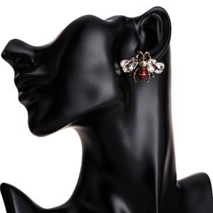 Creativo carino insetto orecchini con strass colore smalto ape orecchini vintage lega gioielli placcati oro per le donne accessori all'ingrosso