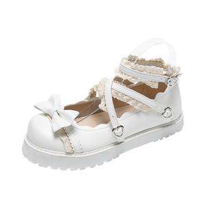 Lolita Schuhe Frauen-Ebene Low-Runde mit Kreuz Straps Bogen nette Mädchen Prinzessin Tea Party Schuhe Students Schöne Schuhe Jk Cosplay