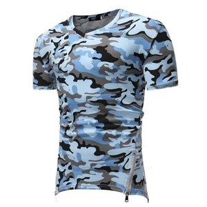 2020 Männer neue beiläufige kurze Hülsen-T-Shirt Seiten-Reißverschluss-Hem Design Camo Muster dünner V-Ansatz elastisches Gewebe T-Shirt Männer Large Size