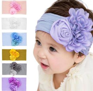 Новорожденных девочек роза цветок ободки тюрбан младенческой упругой Hairbands дети головные уборы детские аксессуары для волос