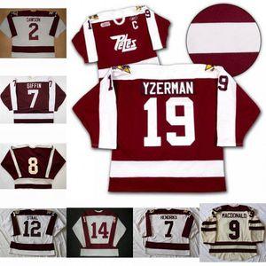 Peterborough Petes 2 Aaron Dawson 19 Steve Yzerman 9 MacDonald 7 Hendrikx 14 John Druce 12 Staal 8 Tie Domi 7 Rob Giffin Hockey Jersey