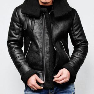 Мужчины Зимняя кожаная куртка Highneck Теплый меховой Liner отворотом кожа молния Outwear пальто Толстые Теплая куртка Весте Cuir Homme