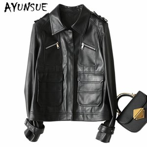 AYUNSUE 2019 New Genuine Leather Jacket Women 오토바이 Natural 양피 Coat 암 Autumn Short Real Leather Jackets 69052