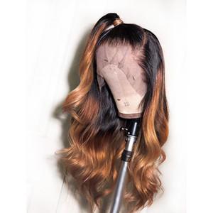 Neue Sexy Dark Roots 1b / 30/27 # Schwarz zu Brown Ombre Blonde Lace Front Perücke Glueless Lange Körperwelle Synthetische Perücken für Frauen