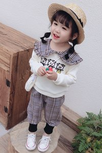 Fashion Girl Suit Baby Cotton Clothes Long Sleeve Lapel + Pants Set For Newborn Baby Outfits Children Clothing Kid Cartoon Bags