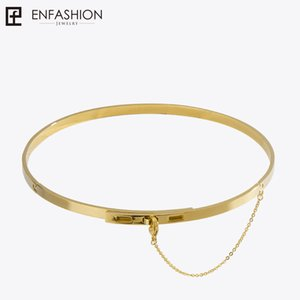 Enfashion Safety Chain Chokers Necklaces Pendants Gold Color Necklace Stainless Steel Choker Necklace For Women Jewelry Collier Y19050802