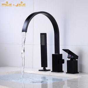 Black Waterfall Bathtub mixer with brass hand shower double function bathtub faucet set deck mounted bath shower bath faucet