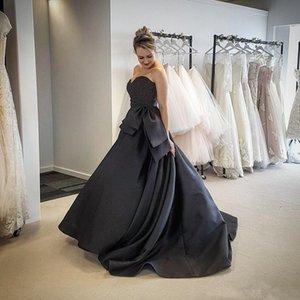 2020 nero dei vestiti da sera in raso con grande fiocco applicato Sweetheart abiti di promenade posteriore della chiusura lampo vestito convenzionale Sposa