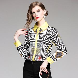 Frühling und Sommer Damen-Blusen Shirts, Dame und das Mädchen Art und Weise gedruckte Hemden, Lap Top Freizeit, Reverskragen,