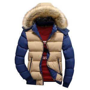 2020 Uomo Primavera del cappotto di inverno caldo pile Down Jacket nuovo modo cappuccio di pelliccia Cappello di Uomini abbigliamento informale Mens spesso dei cappotti con cappuccio 4XL