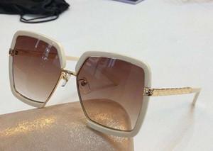 Luxo-Mulheres Quadrados Óculos De Sol bege Dourado / marrom sombreada Sonnenbrille occhiali da sole Designer De Luxo Óculos De Sol óculos Nova caixa wth