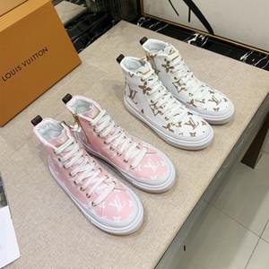 Лучшие Женщины кроссовки 1A5U0H STELLAR SNEAKER BOOT Розовый и белый Роскошные женские дизайнерские туфли стороны застегивать