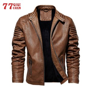 Autumn Winter Men's Leather Jacket Fleece Motorcycle PU Jacket Warm Fashion Slim Coat Plus size M-5XL Tops Bomber Overcoat