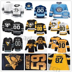 Costurado costume pittsburgh pinguins homens mulheres juventude preto ouro amarelo amarelo inverno clássico séries do estádio feminino senhora crianças hóquei jerseys