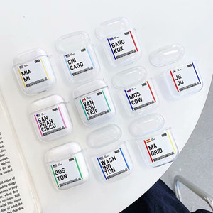 Kreativität Bordkarte Abdeckung für Airpods 1 2 3 Pro Modedesigner airpods Fälle für Echte drahtlose 100% Protective AirPod Transparent