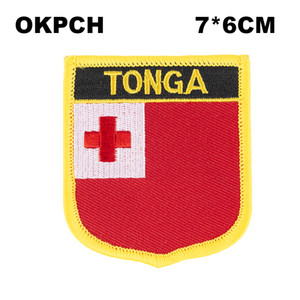 Tonga Flag Embroidery Iron on Patch Parches bordados Insignias para ropa PT0174-S