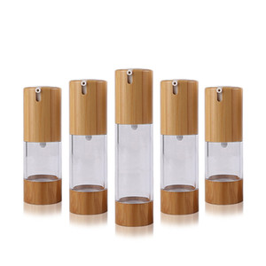 15ML 30ML 50ML Clear Transparent Vacuum Lotion Bottles Plastic Bamboo Cosmetic Airless Bottle Emulsion Press Pump Packing Container