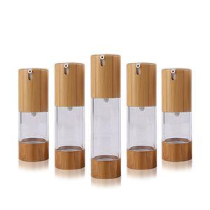 15 ml / 30ml / 50ml Klarer transparenter Vakuumlotion Flaschen Kunststoff Bambus Kosmetische Airless Flasche Emulsion Press Pumpe Verpackungsbehälter