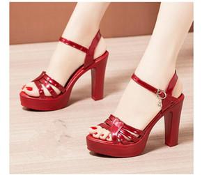 2020 Women's sandals in Summer with New style fashion High heel Coarse heel waterproof table sandals heel 8cm,10cm @MQWBH695