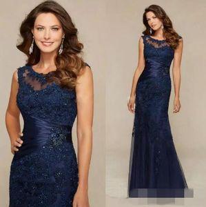 Sheer Crew Neck Elegante Madre de la novia Vestidos Nueva llegada Azul marino de encaje Sirena larga Vestido de noche Vestidos de fiesta de noche