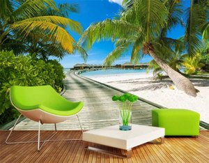 Background Vista Mar Praia Fotografia grandes murais 3D Coqueiros Ponte de madeira Sala de estar Quarto de Fundo papel de parede Photo