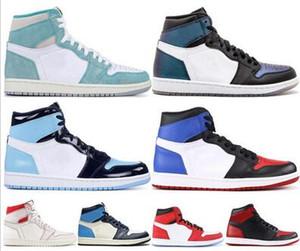 الرجال Jumpman أحذية كرة السلة 1 1S عالية أوغ حظر رخيصة لعبة حجر السج UNC ألعاب القوى المالكة حذاء رياضة أعلى حجم 3 رجل رياضة مدرب 13/05 مع مربع