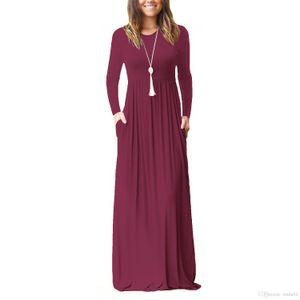 Maxi Casual Dress Women Fashion Loose Dresses Solid Long Sleeve Dresses Round Collar Long Sexy Elegant Women Dress