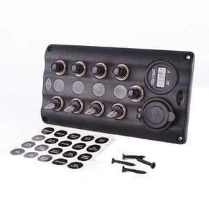 CAR Amarine 8 Gang Aluminium LED Rocker & Circuit Breaker Waterproof Marine Boat Rv Switch Panel