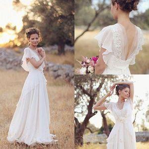 Hippie de Bohemia de los vestidos de boda del estilo 2020 New Beach una línea de vestido de novia vestidos de novia sin espalda blanca del cordón de la gasa de Boho
