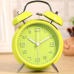 Explosion-proof Alarm Clock Kids Big Dial 3D Classic Home Noiseless Battery Operated Analog Night Light Cute School Double Bell