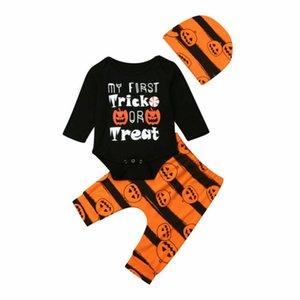 Pantalones Pudcoco Nueva manera del bebé de Halloween del bebé recién nacido de manga larga Romper + calabaza Leggings Sombrero Ropa