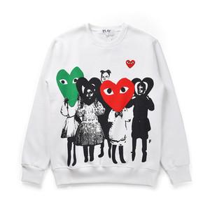 2019 가을 남자의 CDG 재생 까마귀 패션 레드 하트 어린이 운동복 여성 자수 두꺼운 스웨터 O-목 힙합 스포츠 남성을 인쇄