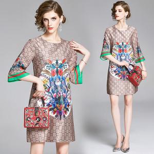 Floreali classici delle nuove donne 2020 Estate pista stampa elegante abito Plus Size modo delle signore allentato casuale girocollo una linea di abiti da Vestidos