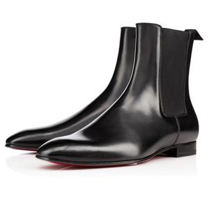 Moda elegante del diseñador para hombre de negocios Negro cuero botas de caballero de alta top rojo botas abajo, Marca plana tobillo patea los zapatos casuales L05