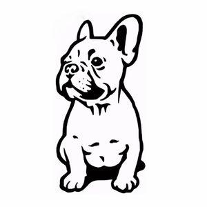 14 * 7 см французский бульдог собака автомобиль наклейка виниловые автомобили наклейка пользовательские окна двери стены автомобиля больнее черный / серебристый CA-1024