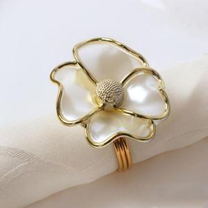 Fleurs serviette anneaux blanc perle forme serviette anneaux pour Hôtel beau mariage boucle de serviette de table Décoration YSY338-A