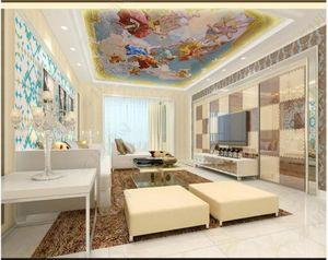 Пользовательские потолочные фрески обои 3d zenith mural для гостиной Европейский ангел Зенит обои