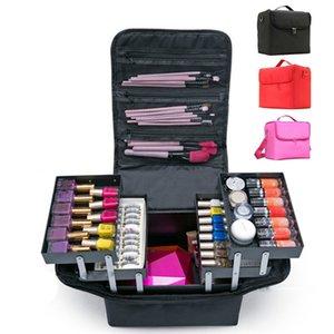 Мода Женщины макияж Organizer большой емкости Многослойные вагонкой Косметическая сумка Салон красоты Татуировки Nail Art Tool Bin