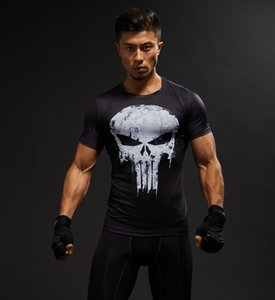 Manches courtes 3D T-shirt des hommes T-shirt Homme T-shirt Superman Captain America Men Fitness Compression Shirt Punisher