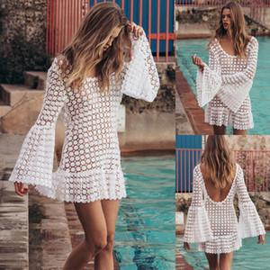 Traje de baño de mujer sexy Traje de baño de bikini de ganchillo de encaje Cubrir Vestido de playa blanco Ahuecado Vestido de verano de mujer Vestido de playa de mujer