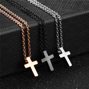 Classic Rose Gold Color Cross Necklaces Prayer Christ Jewelry Stainless Steel Necklace for Women