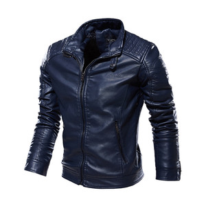Men's High Quality Fashion stand-up collar Leather Jacket plus suede leather Motorcycle Style Male Business Casual Coats Warm Overcoat