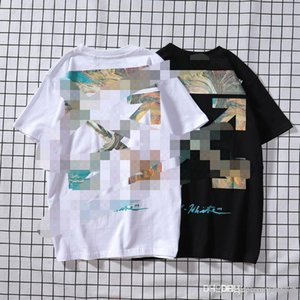 OFF Summer European and American tide clothes white Shenyang Xi'an limited gradient arrow sea wave starry sky oil painting round neck s