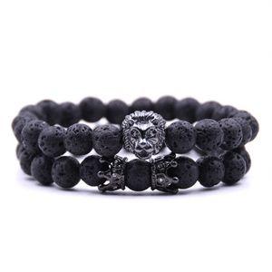 2PCS / set 2019 perline fascino braccialetti braccialetto del buddha paracord leone in pietra naturale braccialetto uomini Pulseras hombre bracciali uomo bracciali da uomo