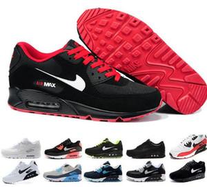 nike air max 90 Flyknit 2019 Klassische Chaussures Max90 Laufschuhe für Herren Damen Turnschuhe Kissen 90s Sport-Turnschuhe freies Verschiffen Farbe red36-45
